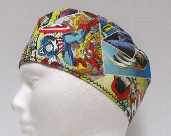 Mens Scrub Hat, Surgical Cap or Chemo Hat Retro Comics