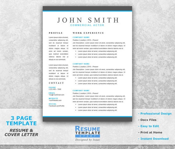 Actor Resume Template Word Professional Resume Template For