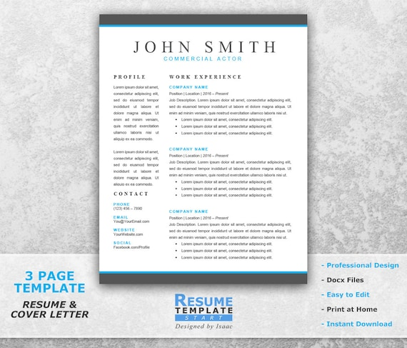 Actor Resume Template Word   Professional Resume Template For Word   Resume  Cover Letter Template   CV Templates T13