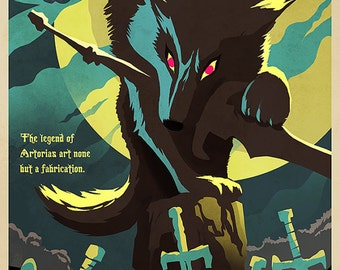 Grey Wolf Video Game Art Poster