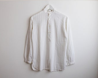 white button down striped textured blouse tunic top / grandad collar / french vintage 60s / size s 36