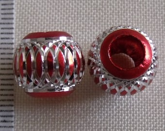 set of lightweight acrylic 2perles red silver