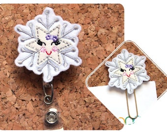 Snowflake Badge Holder, GLITTER, Planner Paper Clip, Retractable Badge, Lanyard, Magnet, Pin, Bookmark, ID Badge Reel, TheBadgePatch, 1712
