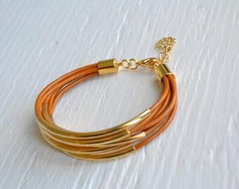 Caramel Leather Cuff Bracelet with Gold Tube Beads - Minamalist Design Multi Strand Bangle Women's Bracelet ... by  B A L O O S