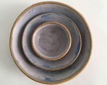 Ceramic Nesting Bowl Set, 3 Amethyst Purple Stoneware Pottery Bowls