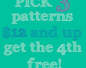Pick three PDF sewing patterns, get the 4th free