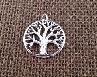 Tree of Life Pendant, Tree of Life Charm, Family Tree Pendant, Family Tree Charm, Silver Plated Tree of Life, Large Size, PSP0169