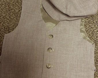 Size XXL: 11 to 12yrs Boys VEST Sepia Tan Vest, Wedding Ring Bearer Vest