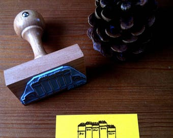 Personalized Bookends Bookplate Stamp Ex Libris Stamp with wooden holder and free stamp pad