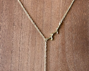 "14"" Gold Lariat Necklace w/ Gold-Dipped Pendant"