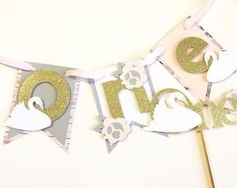 Swan lake first birthday smash cake set, swan birthday decorations, swan highchair banner, swan cake topper
