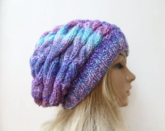 Cable Purple Slouchy Beanie, Hand Knit Hat, Women Cable Slouch, Cable Knit Slouch Beanie, Purple Blue Pink BraidedSlouchy, Clickclackknits