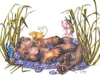 Garden Visitors Cute Fairies with Doberman Puppy Original Artwork
