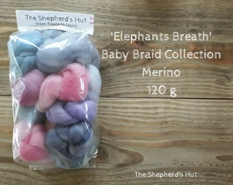 Merino Baby Braid Collection 'Elephants Breath' 120 g  for spinning and fibre craft.