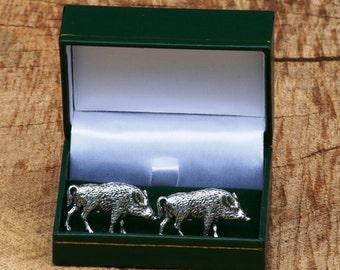 Wild Hog Boar Cufflinks Pewter UK Handmade Hunting Gift