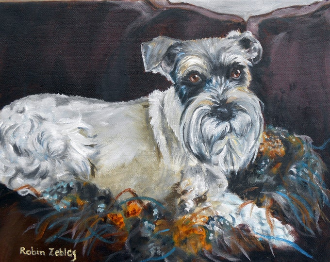 Schnauzer Dog Oil Painting, Pet Portrait Custom Art, Real Oil Painting on Stretched Canvas Animal Art