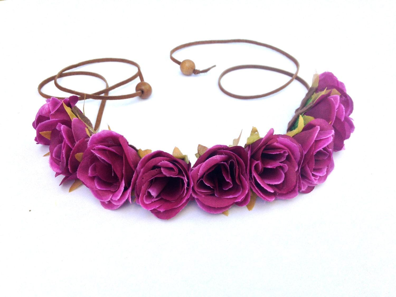 Flower crown with dark purple roses romantic boho floral headpiece flower crown with dark purple roses romantic boho floral headpiece music festival headpiece hippie flower crown headband izmirmasajfo