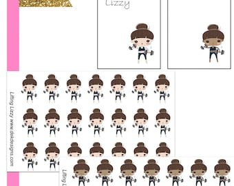 Lizzy Lifting//Planner Character Stickers//EC//HP