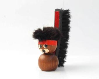 Vintage Teak Wood brush figurine / Modernist Scandinavian Danish Collectible / Modern Eames Bojesen era style / 60s 70s