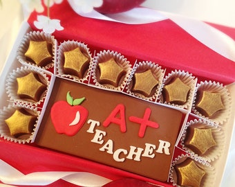Teacher Thank You Gift - Chocolate Teacher Thank you - Apple Teacher Appreciation Gift