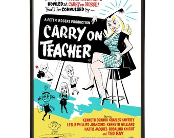Carry On Teacher - pop art of the movie poster from the 1959 British Comedy school film with original Mid-Century illustrations
