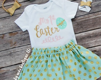 First Easter Outfit, Easter Bodysuit with Skirt and Matching Headband; Baby Girl Easter Dress; My 1st Easter Bodysuit; barefoot sandal
