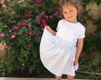 Skirt white Valentine blue Pinstripe 2 to 6 years