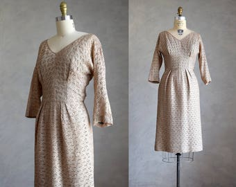 vintage 1950s ribbon lace wiggle dress | vintage putty fitted cocktail dress | 50s vintage fitted sheath dress | ribbon crochet party dress