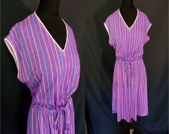 Purple Striped Capsleeved Vintage 1980's Women's Summer Dress M
