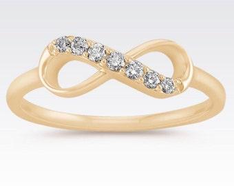 SALE! Infinity Ring, Diamond Ring, 14k Gold Ring, Infinity Diamond Ring, Infinity Gold Ring, Promise Ring, Anniversary Ring, Fashion Ring