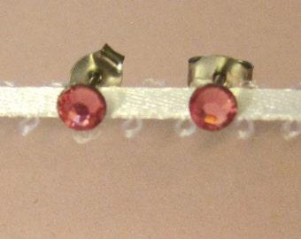 "Surgical Steel Post Earrings - ""Rose Pink Crystals"" (Hypoallergenic Earrings for Sensitive Ears // Surgical Steel Stud Earrings)"