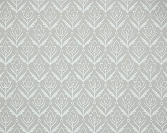1940s Vintage Wallpaper by the Yard - Gray with White Leaves Geometric