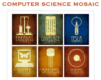 11x14 Mosaic Computer Science Art Print, Faraday, Lovelace, Tesla, Hopper, Bareden, Turing, Computer Programmer Engineer Gift, Techie Art,