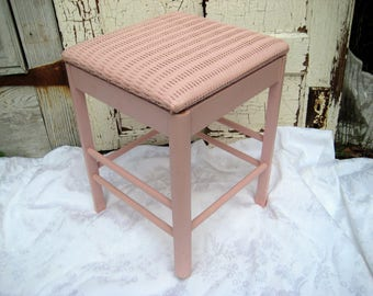 Pink storage bench, wood wicker chair, storage stool, bedroom chair, shabby cottage chic decor, farmhouse decor