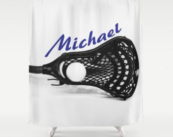 Lacrosse Shower Curtain-Personalized Shower Curtain-Custom Lacrosse Bath Decor-Boys Bath Decor-Sports Bathroom-LaX Decor-Custom Name Decor