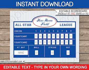 Baseball Scoreboard Printable Backdrop Sign - INSTANT DOWNLOAD with EDITABLE text - 2 sizes - 36x48 inches (or A0) and 24x36 inches (or A1)