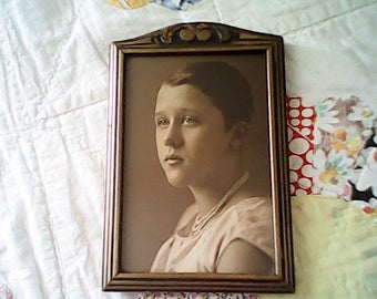 ANTIQUE SEPIA PORTRAIT Framed 1930s