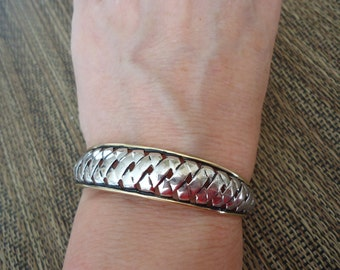 Two-Tone Vintage Cuff w/ Braided Design, Gold and Silver, 16 Grams Sterling, Estate Bracelet