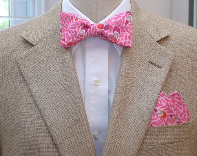 Men's Lilly Pocket Square and Bow Tie in pink peacock design, wedding party wear, groomsmen gift, groom bow tie set, men's gift set