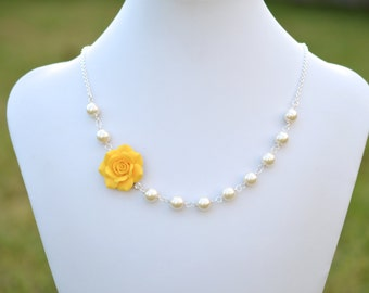 FREE EARRINGS Golden Yellow Rose Flower Necklace, yellow rose Necklace, yellow bridesmaid necklace, yellow Summer Necklace