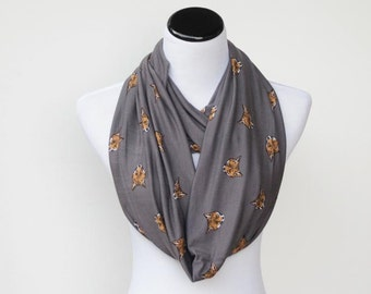 Fox scarf infinity scarf loop scarf charcoal gray scarf dark grey brown soft jersey knit foxy scarf circle scarf gift for girl, gift for mom
