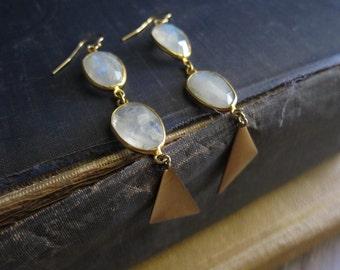Moonstone Earrings,Moonstone Earrings Gold,Geometric Earrings,Gemstone Drop earrings,Triangle Earrings,Boho Chic,Raw stone,Dangle Earrings