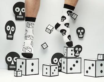 Black and White Skull Playing Socks for Men and Women. Fun patterned socks.