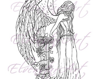 DIGI Stamp Printable Scrapbooking Card Making Crafts Fantasy Gothic Angel Hope Corset Ivy Wings Roses column Digital Stamp Download Coloring