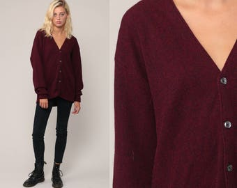 Burgundy Sweater Grandpa Cardigan Boho Sweater Plain Button Up 80s Grunge Slouchy Acrylic Knit Vintage Large