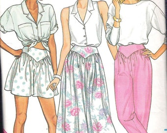 Vintage 1980s Butterick 3773 Misses Skirt, Coulottes and Pants Sewing Pattern Sizes  12, 14, 16