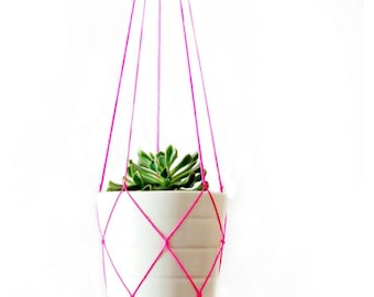 MACRAME PLANT HANGER // simple and modern // 42 inches long // Red - Pink - Orange - Yellow - Green - Blue - White - Grey - Black
