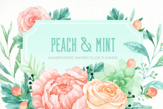 Peach and Mint Watercolor clipart hand drawn Romantic wedding mint