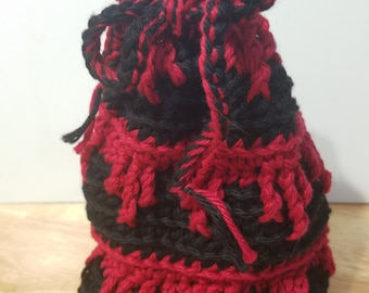 Black & Red Dice Bag, drawstring bag, OOAK, Free Shipping
