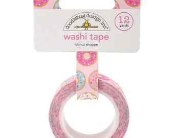 Donut Washi Tape, Doughnut Washi Tape, Pink Tape, Pastel Washi Tape, Paper Crafting, Packaging Supplies, Donut with Sprinkles Washi Tape